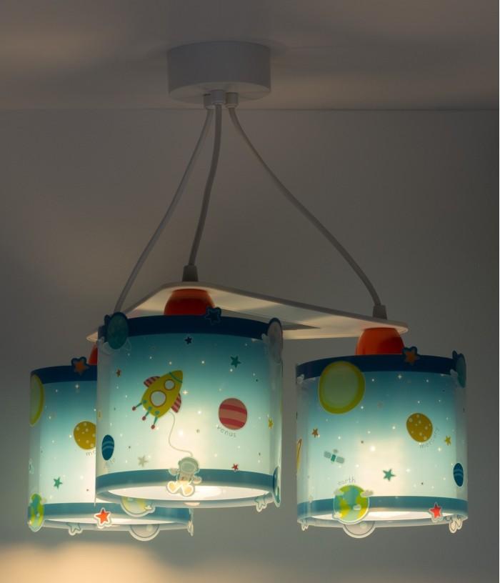 Lampada a sospensione per bambini 3 luci Planets