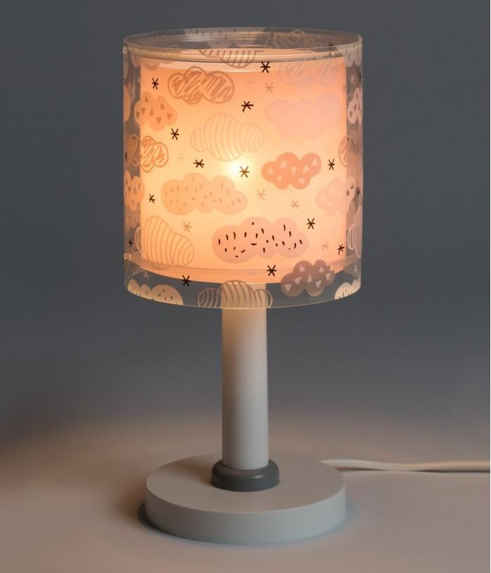 Lámpara infantil de mesita Clouds rosa