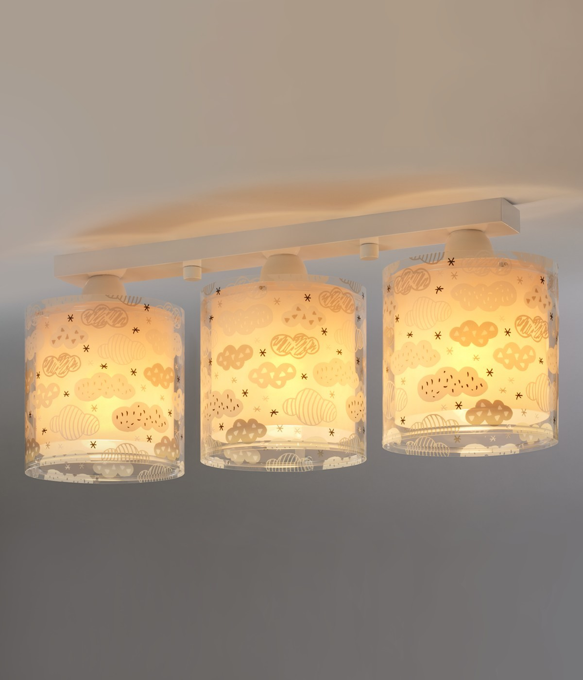 3 light ceiling lamp for Children Clouds pink