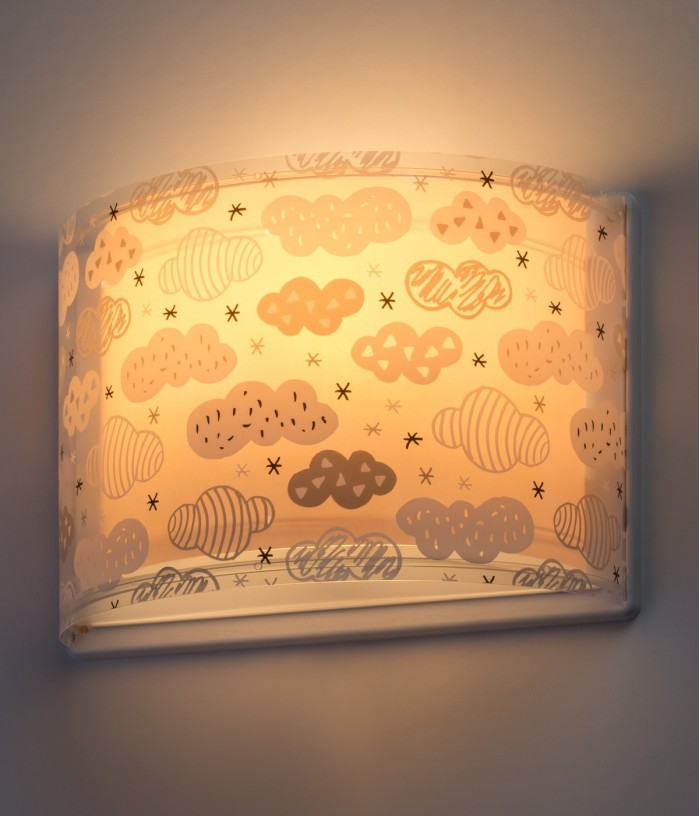 Children wall lamp Clouds pink