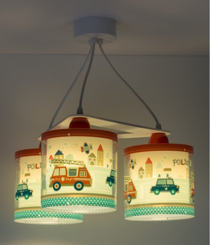 Children 3 light hanging lamp Police