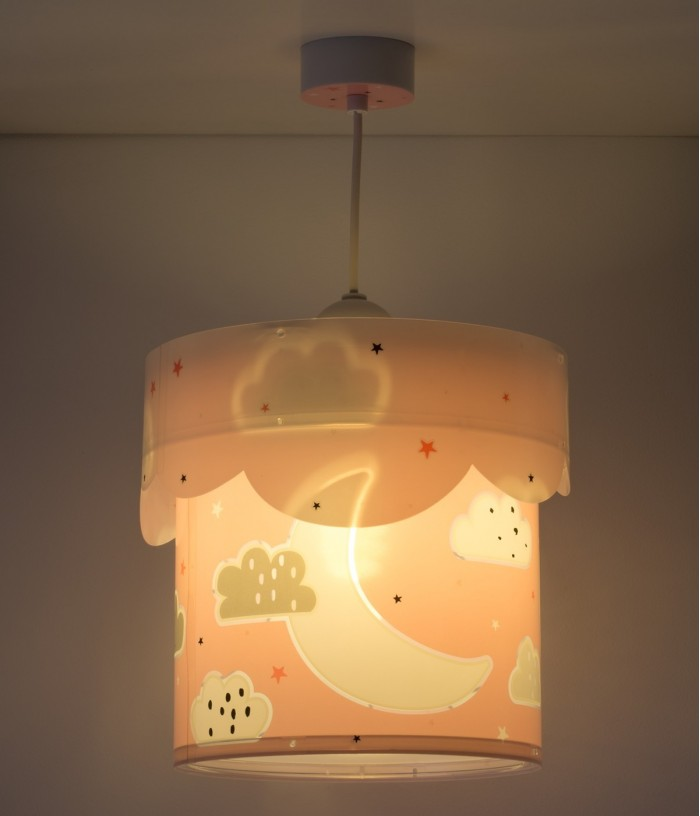 Children hanging lamp Moon pink