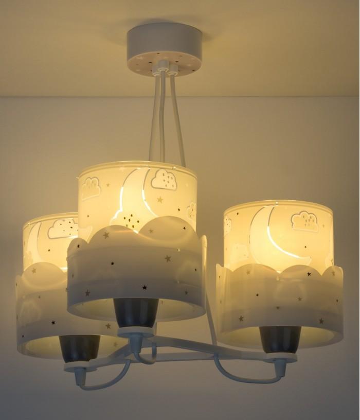 Lámpara de techo infantil 3 LucesMoon gris