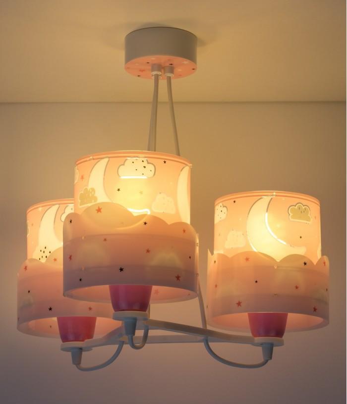 Children 3 light hanging lamp Moon pink