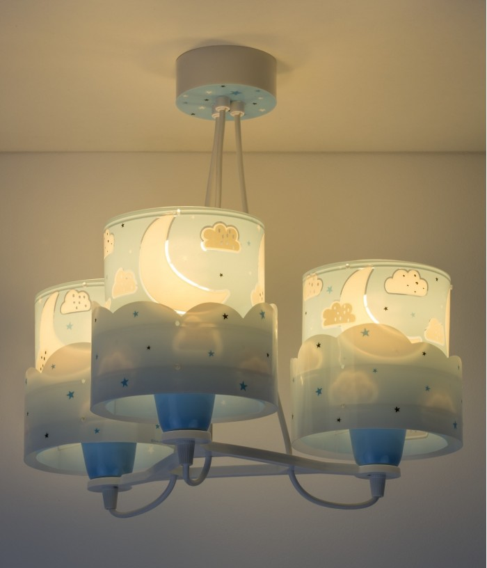 Children 3 light hanging lamp Moon blue