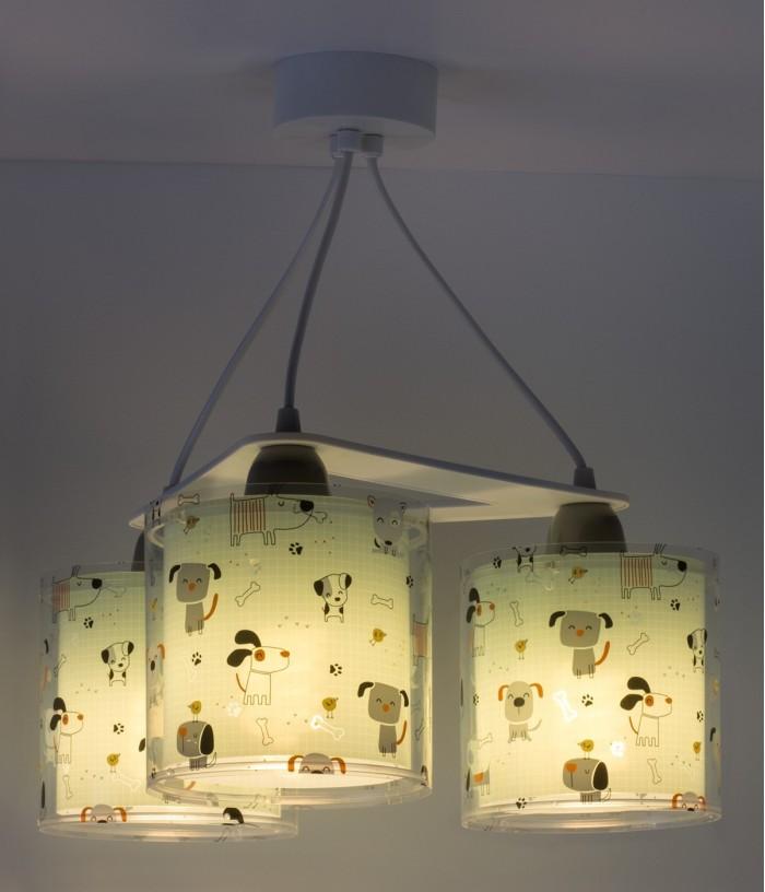 Suspension pour enfants à 3 lampes Happy Dogs