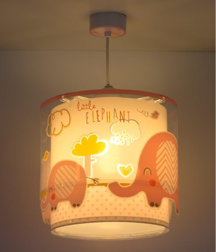 Lampada a sospensione per bambini Little Elephant rosa