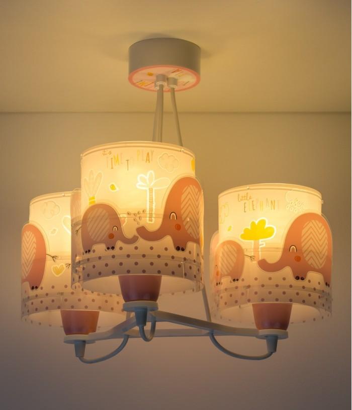 Lámpara infantil de techo 3 Luces Little Elephant rosa
