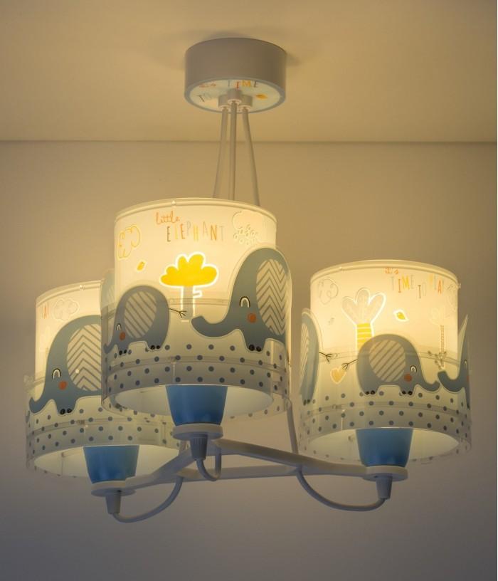 Lampadario per bambini 3 luci Little Elephant blu