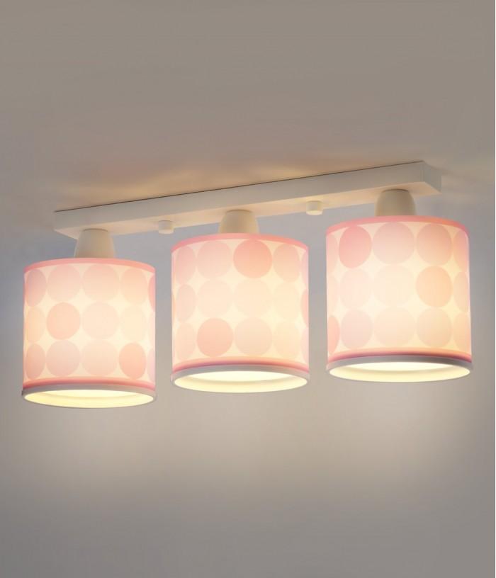 Plafon três luzes Colors rosa