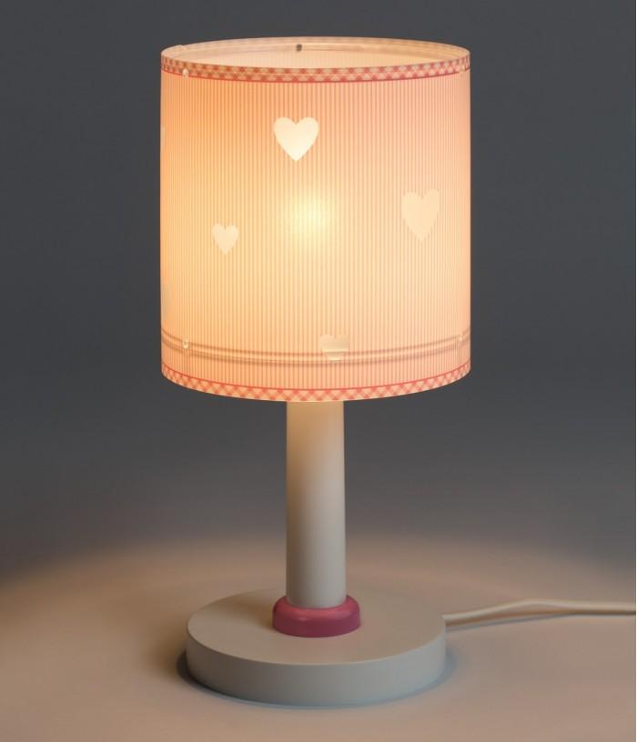 Candeeiro infantil de mesa com corações Sweet Dreams rosa