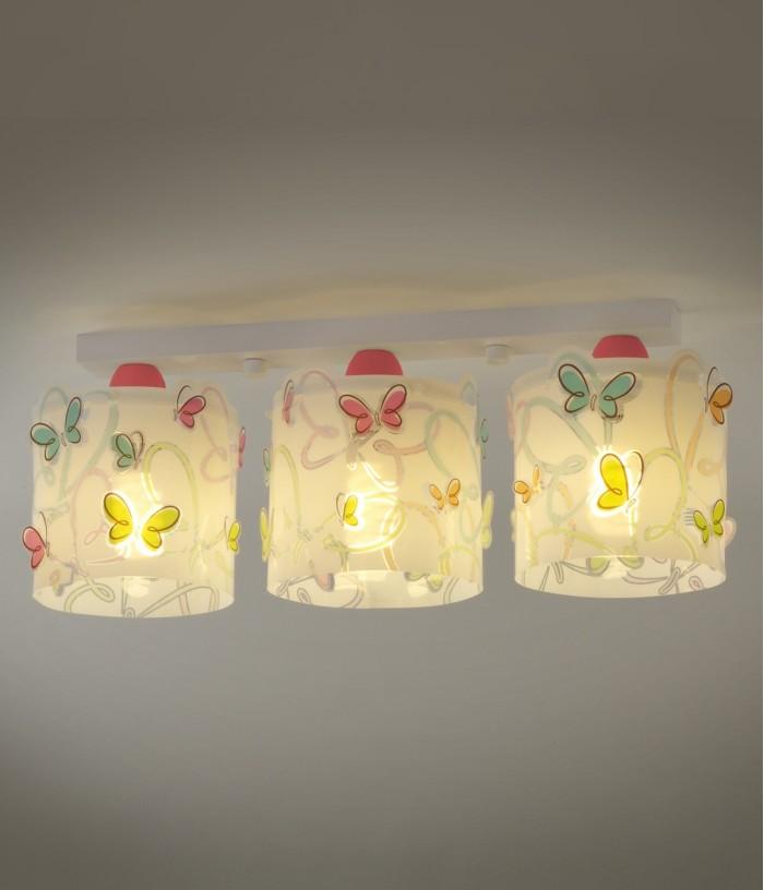 Plafón infantil de techo 3 luces Butterfly
