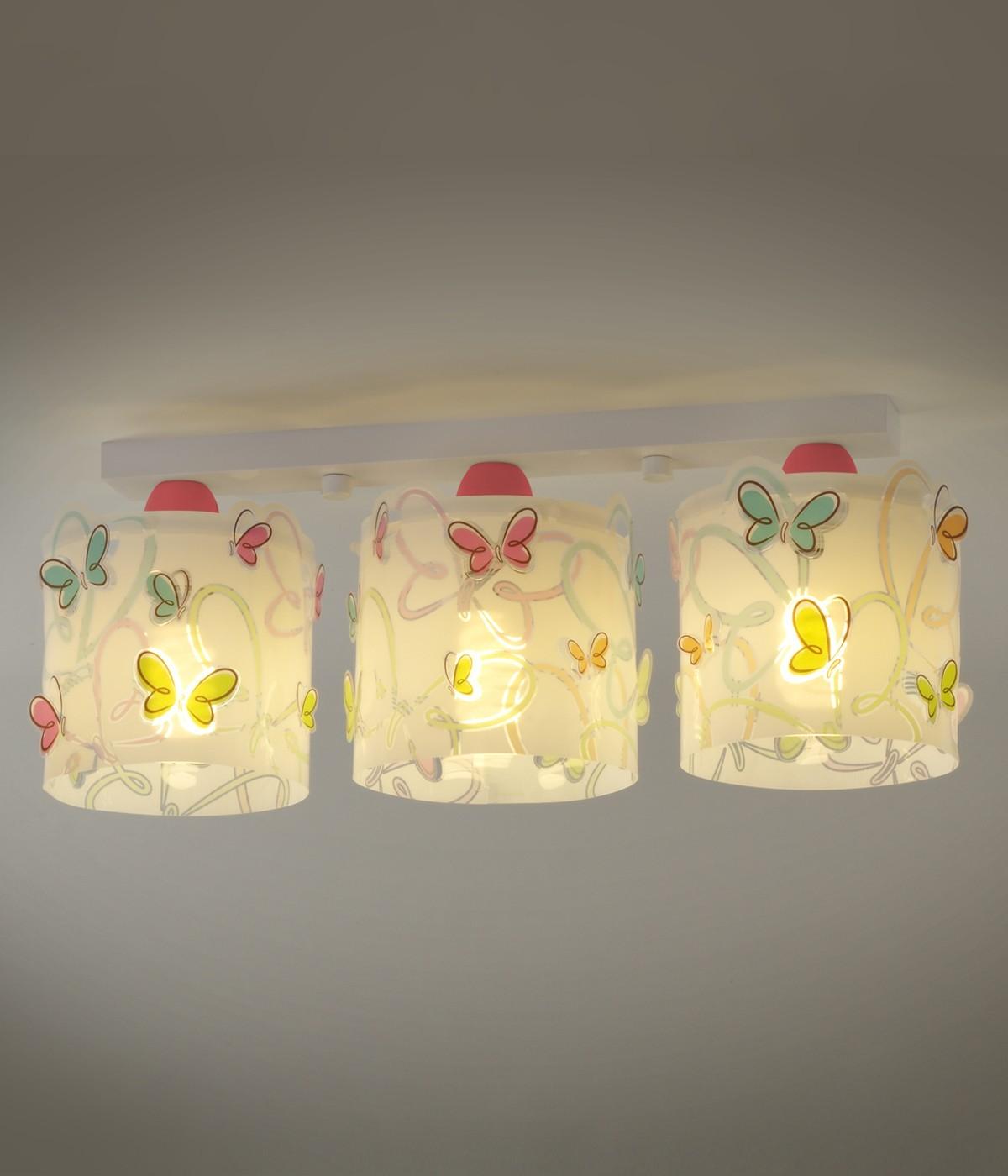 Children 3 light ceiling lamp Butterfly