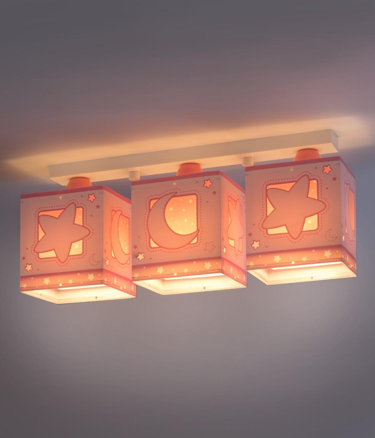 Plafonnier pour enfants à 3 lampes Moonlight rose