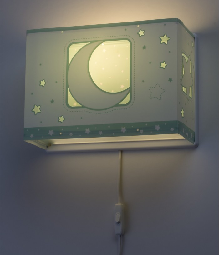 Children wall lamp Moonlight green