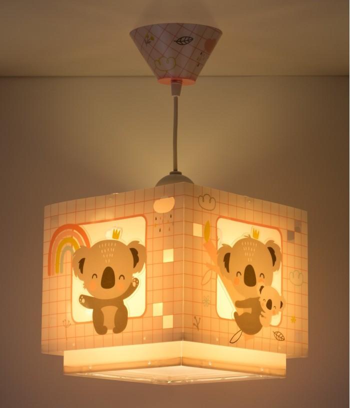 Lámpara infantil de techo Koala rosa