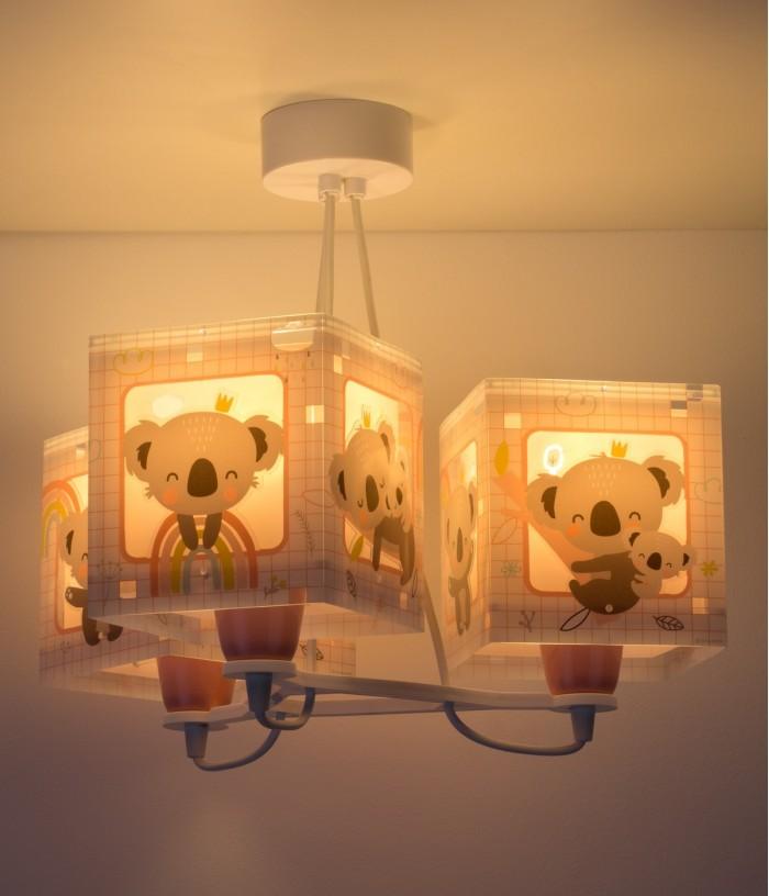 Candeeiro infantil de tecto de três luzes Koala rosa