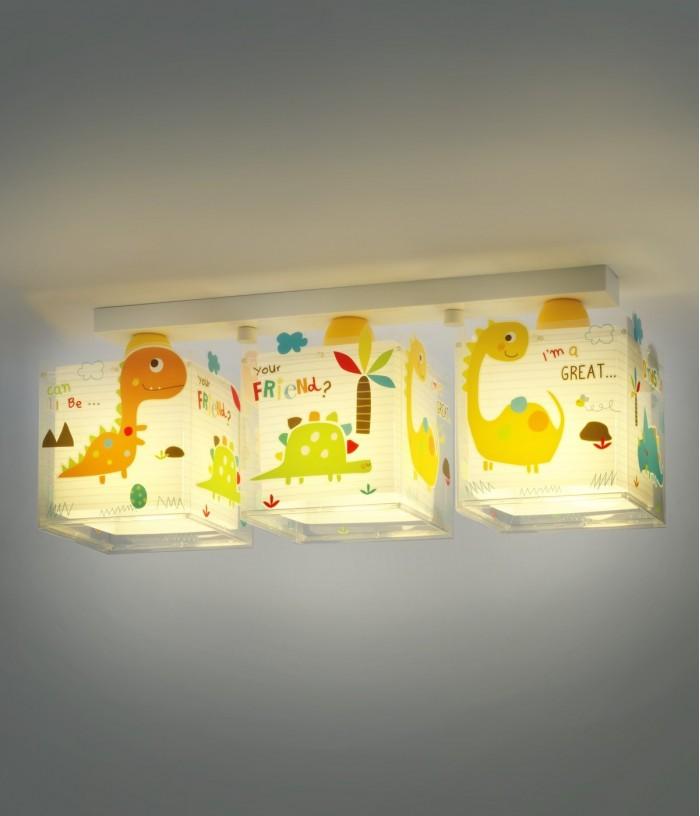 Plafon infantil com três luzes Dinos