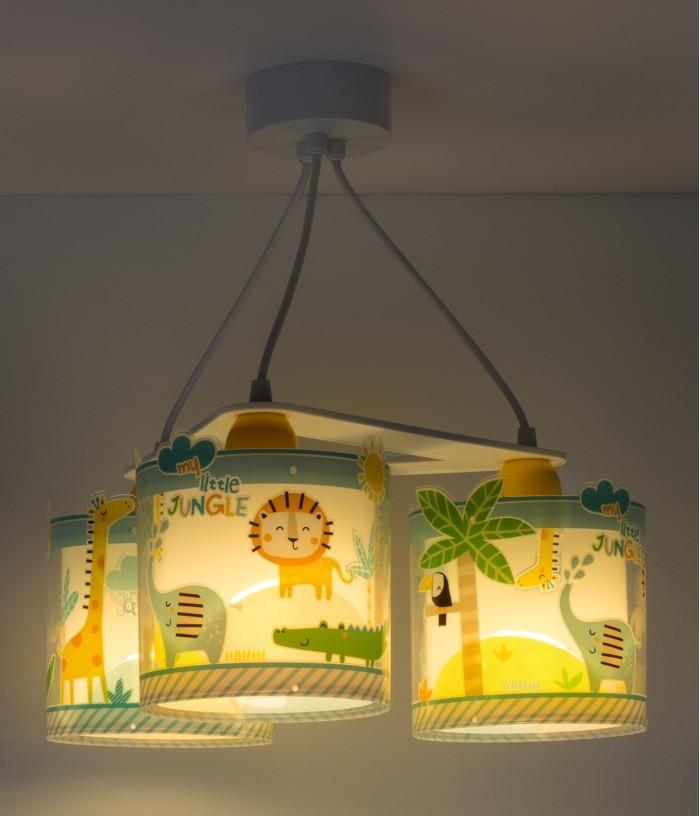 Lampada a sospensione per bambini 3 luci Little Jungle