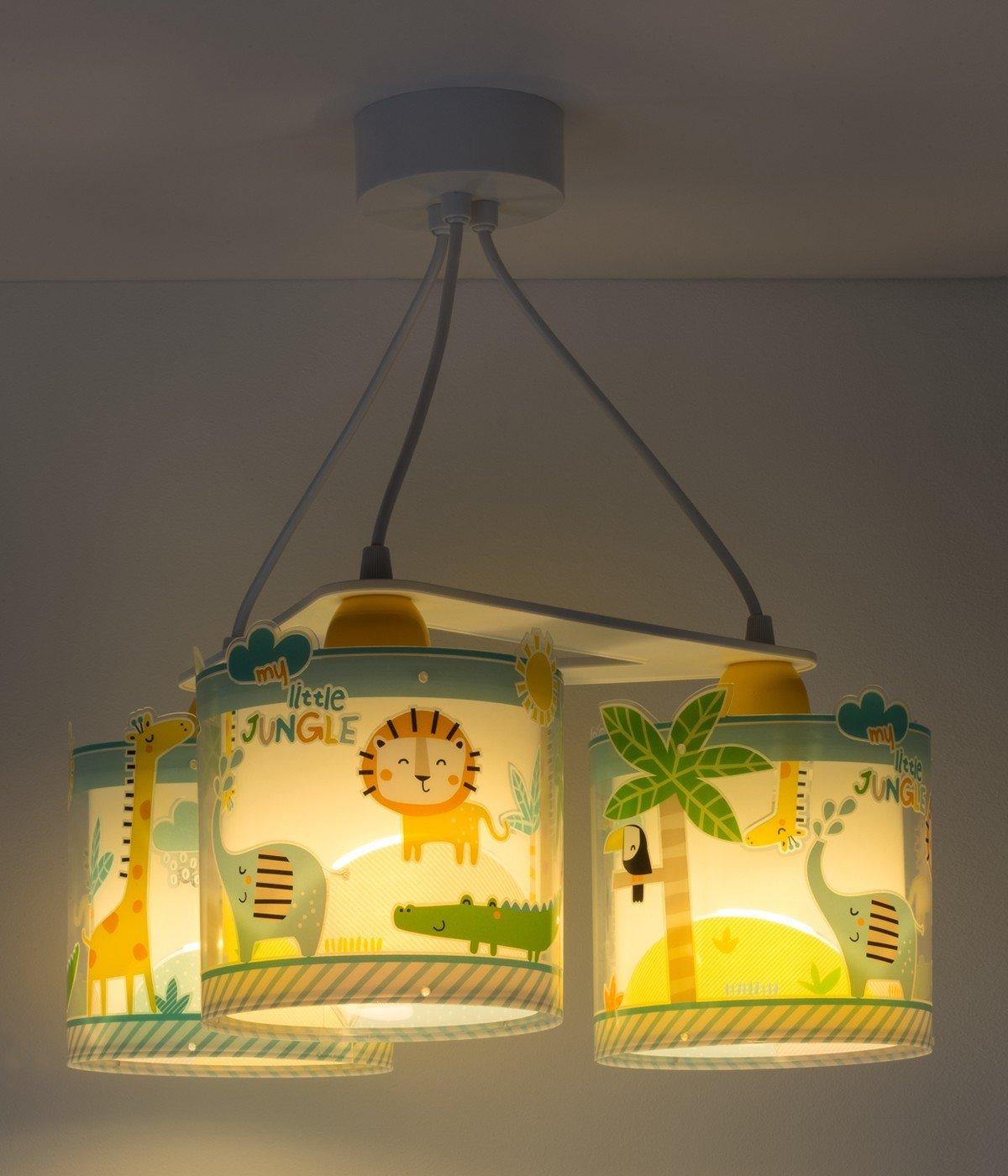 Candeeiro infantil de tecto três luzes My Little Jungle