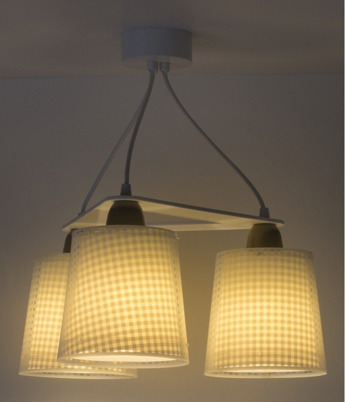 Children 3 light hanging lamp Vichy light brown