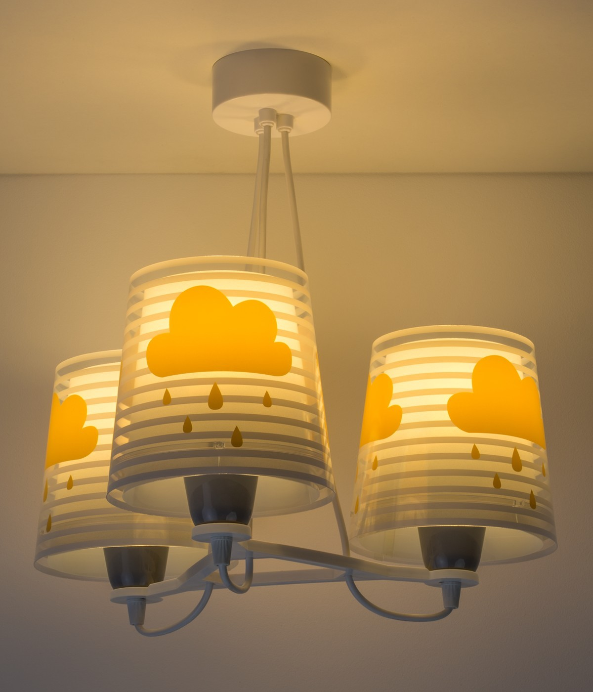 Candeeiro infantil de tecto três luzes Light Feeling cinza