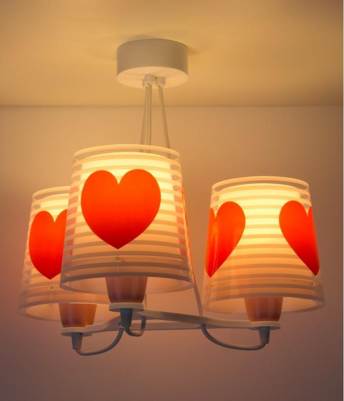 Lampadario per bambini 3 luci Light Feeling rosa
