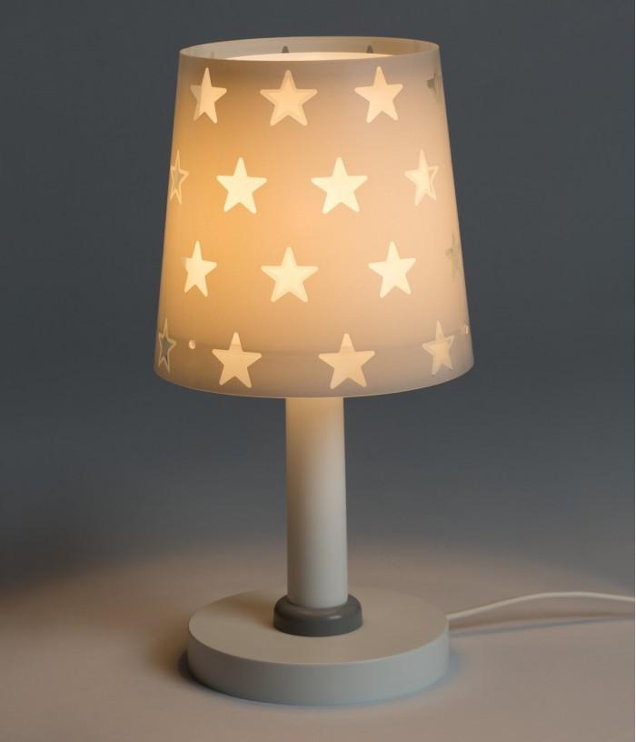 Candeeiro infantil de mesa com estrelas Stars cinza