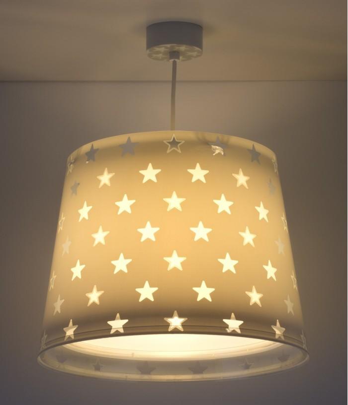 Candeeiro infantil de tecto com estrelas Stars cinza