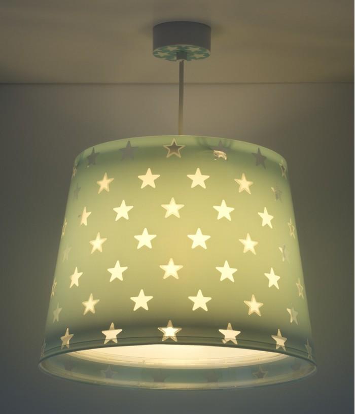 Lámpara infantil de techo Stars verde