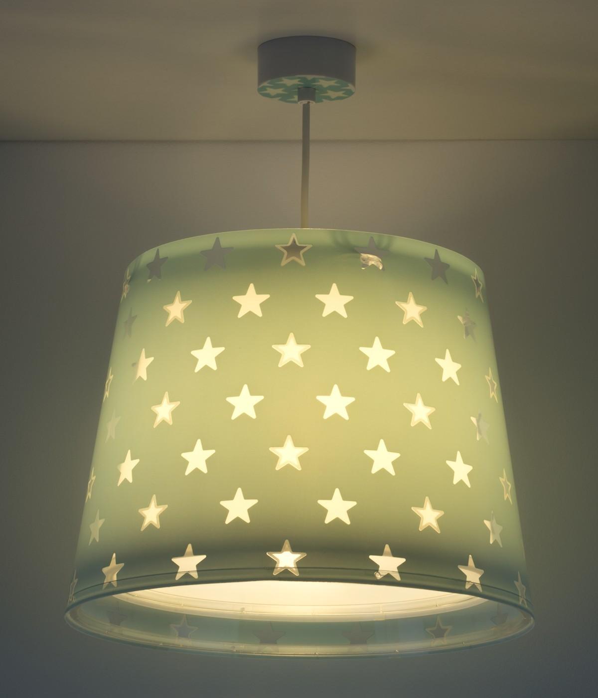 Candeeiro infantil de tecto Stars verde