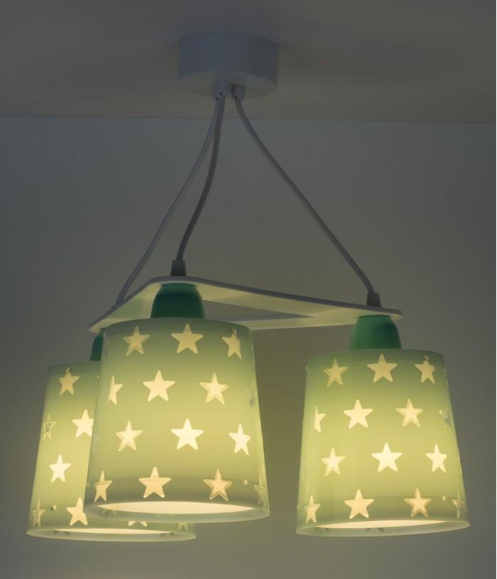 Lámpara infantil de techo 3 luces Stars verde