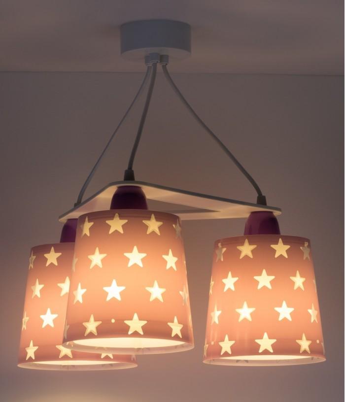 Suspension pour enfants à 3 lampes Stars mauve