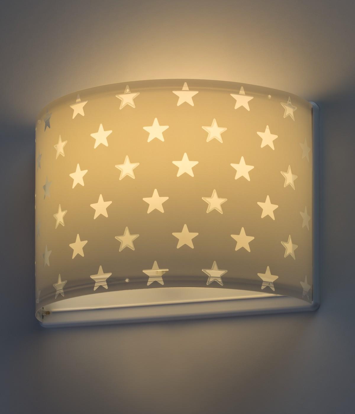 Aplique infantil de pared Stars gris