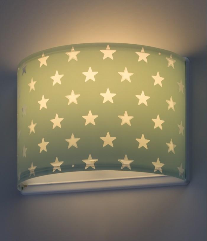 Aplique infantil de pared Stars verde