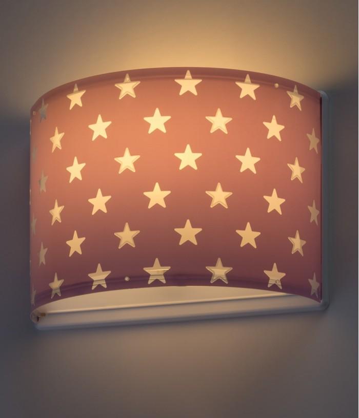 Aplique infantil de parede com estrelas Stars malva