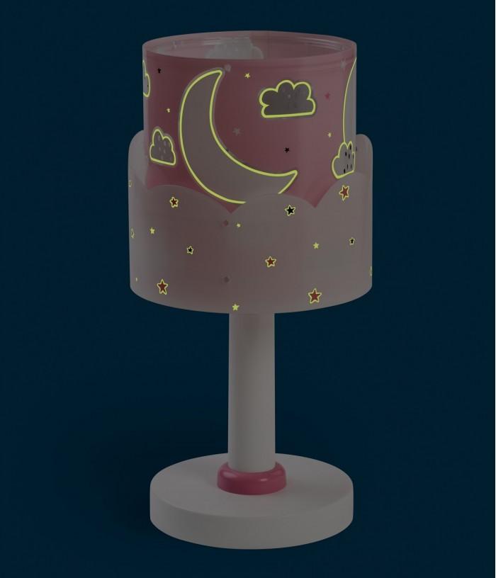 Lámpara infantil de mesita Moon rosa