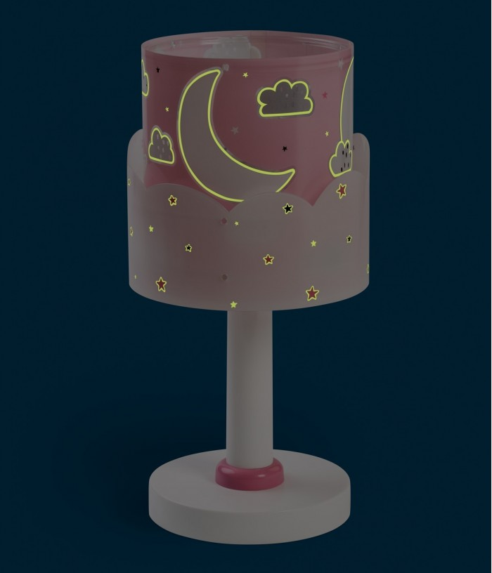 Children table lamp Moon pink