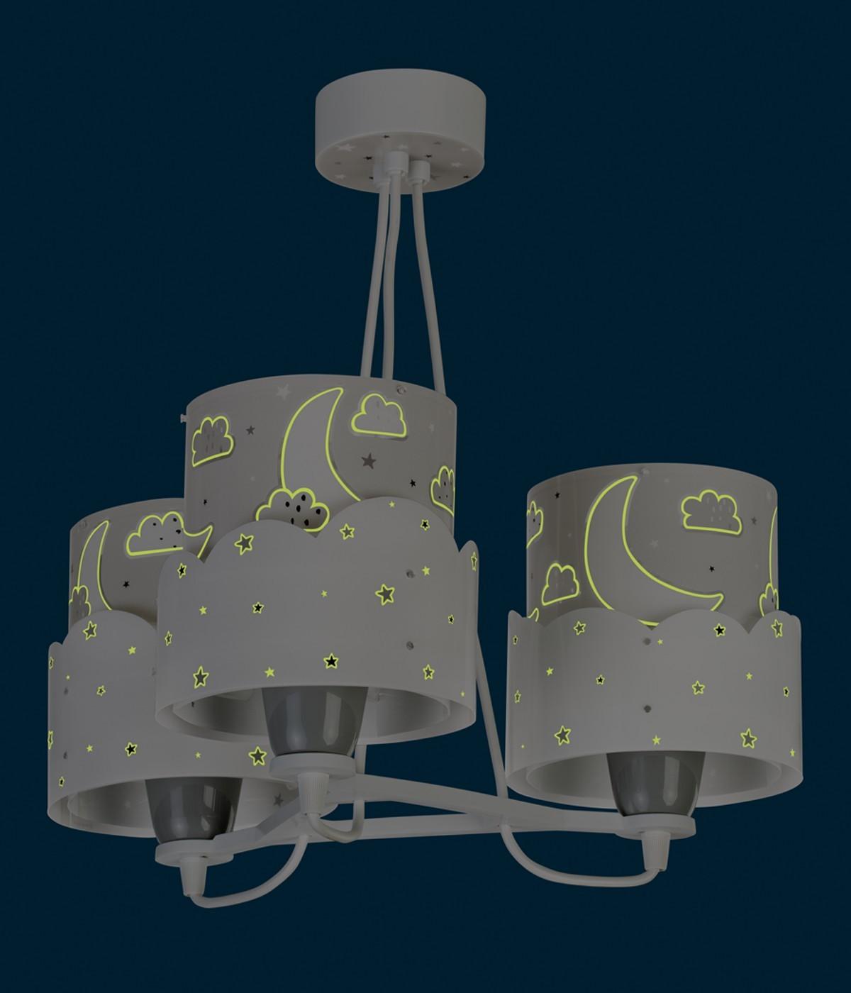 Candeeiro infantil de tecto três luzesMoon cinza