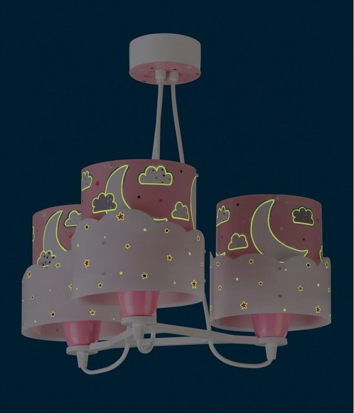 Lampada a sospensione per bambini 3 luciMoon rosa