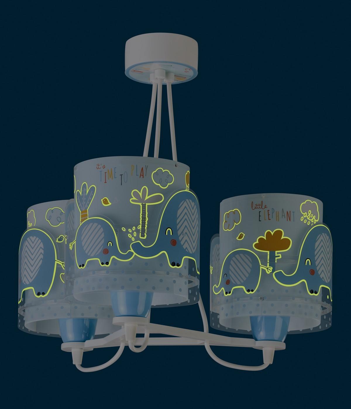 Candeeiro infantil de tecto de três Luzes Little Elephant azul