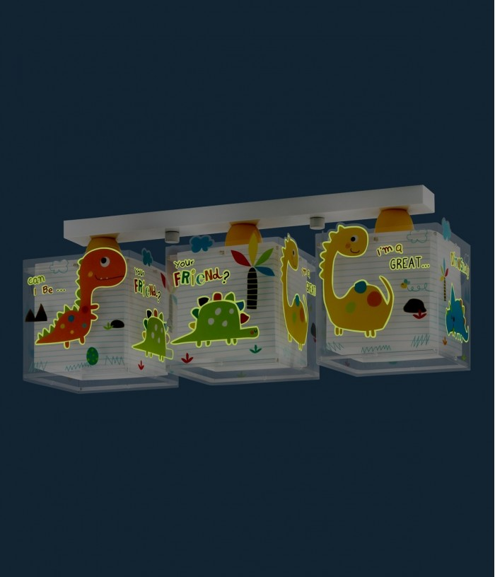 Plafoniera per bambini a 3 luci Dinos
