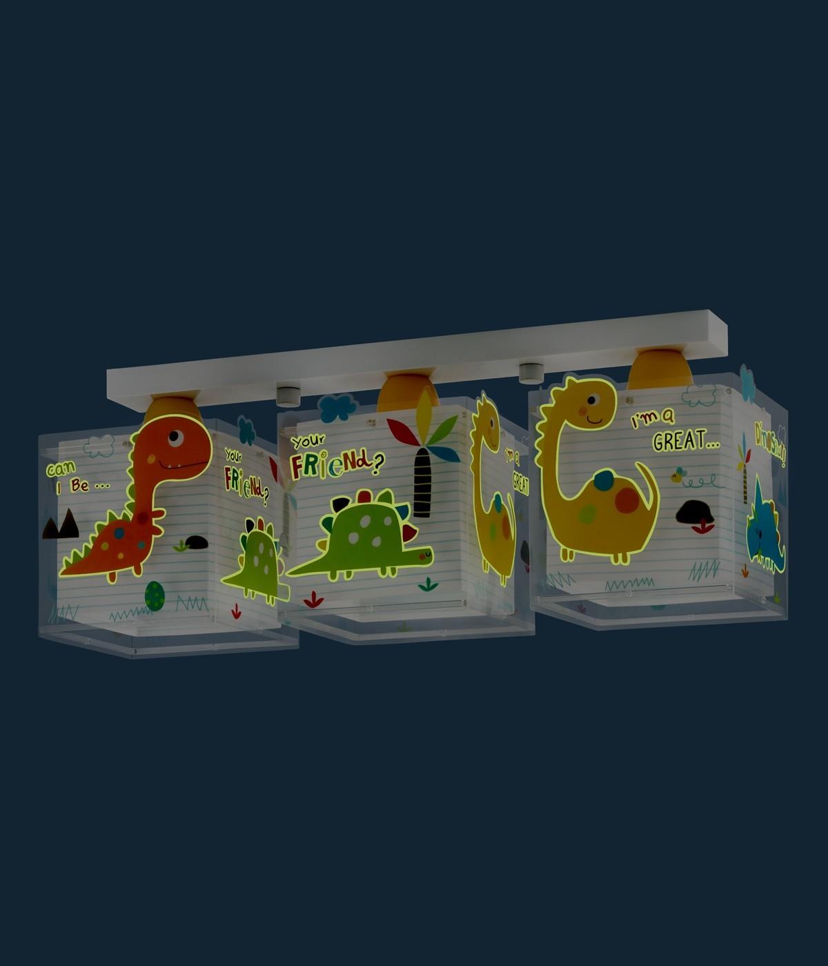Plafonnier pour enfants à 3 lampes Dinos