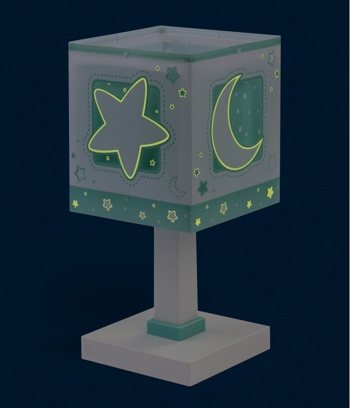 Children table lamp Moonlight green