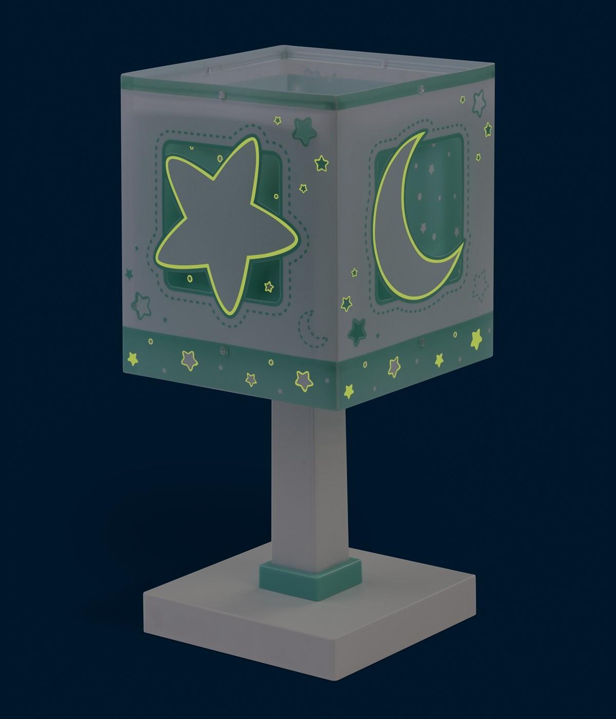Lampada da comodino per bambini Moonlight verde