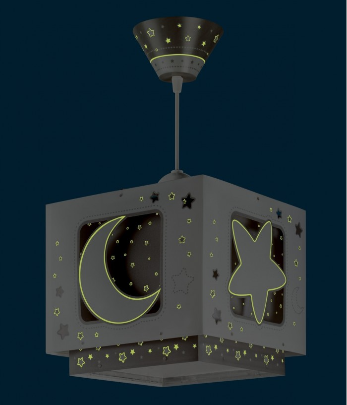 Candeeiro infantil de tecto Moonlight cinza