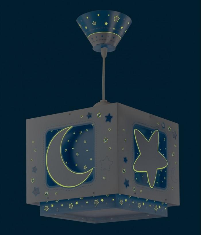 Candeeiro infantil de tecto Moonlight azul