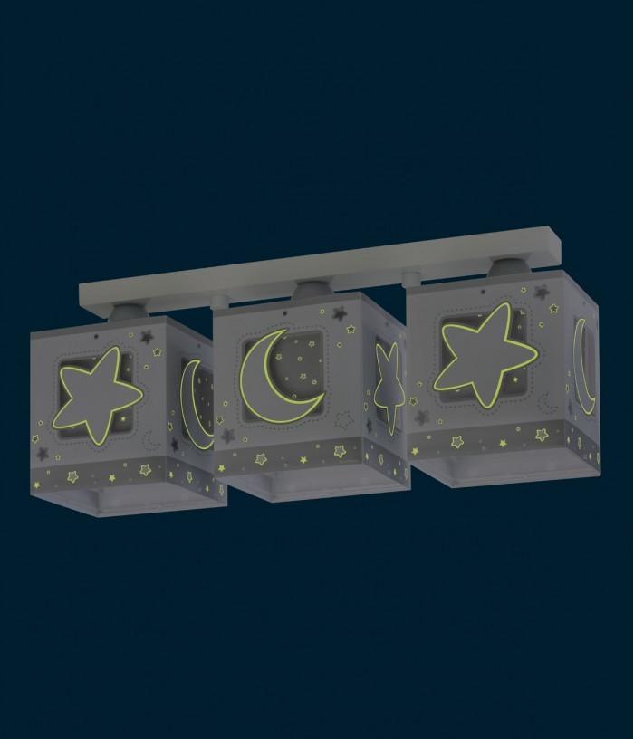 Plafoniera per bambini a 3 luci Moonlight grigio