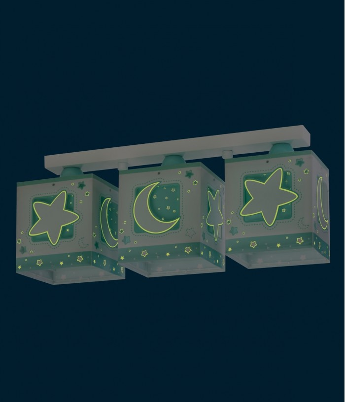 Plafoniera per bambini a 3 luci Moonlight verde