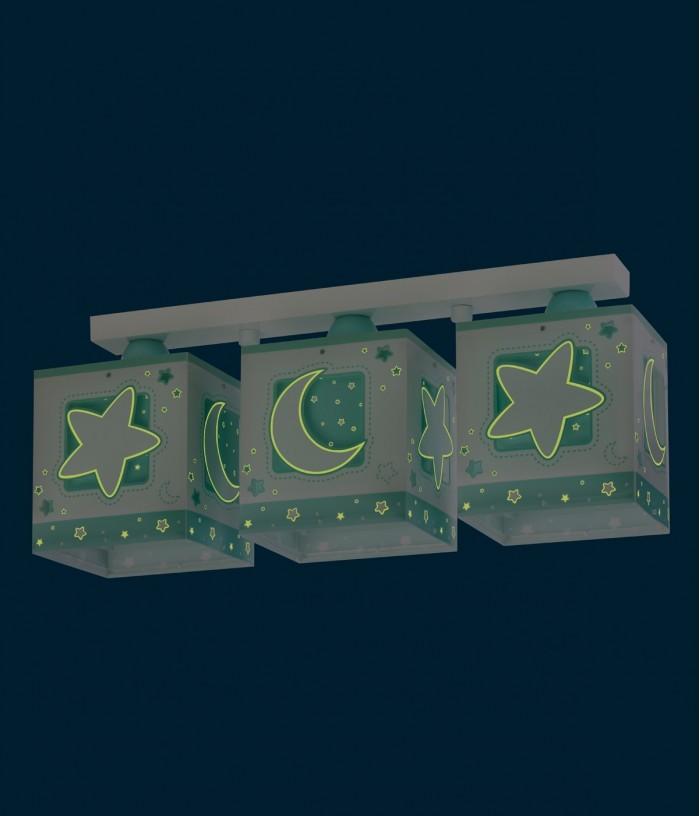 Plafonnier pour enfants à 3 lampes Moonlight vert